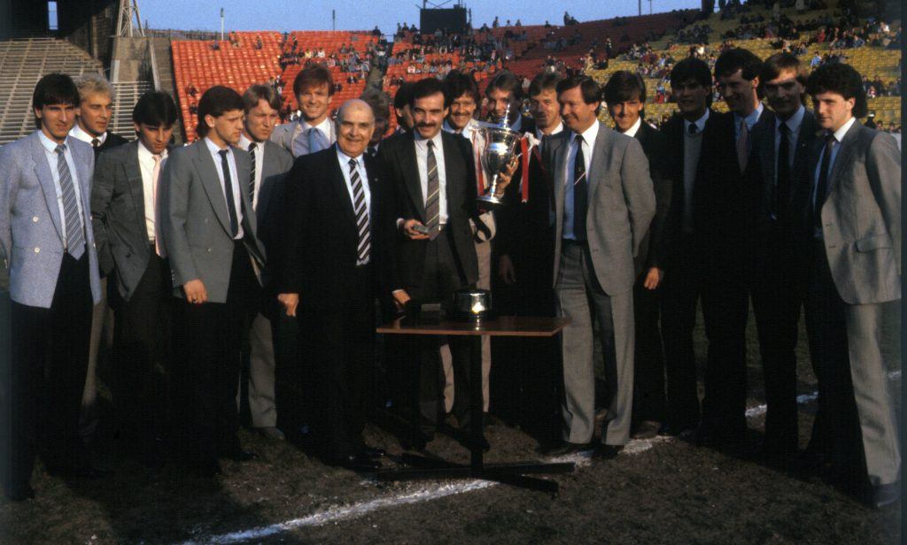 Aberdeen are presented with the 1984-1985 league championship