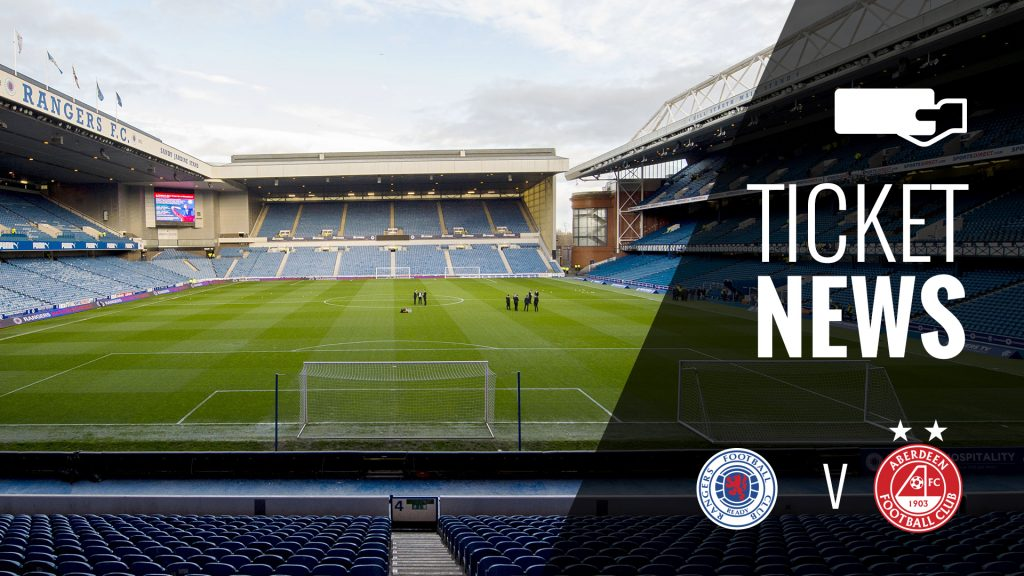 Ticket Details | Rangers v Aberdeen, Wednesday 29th November