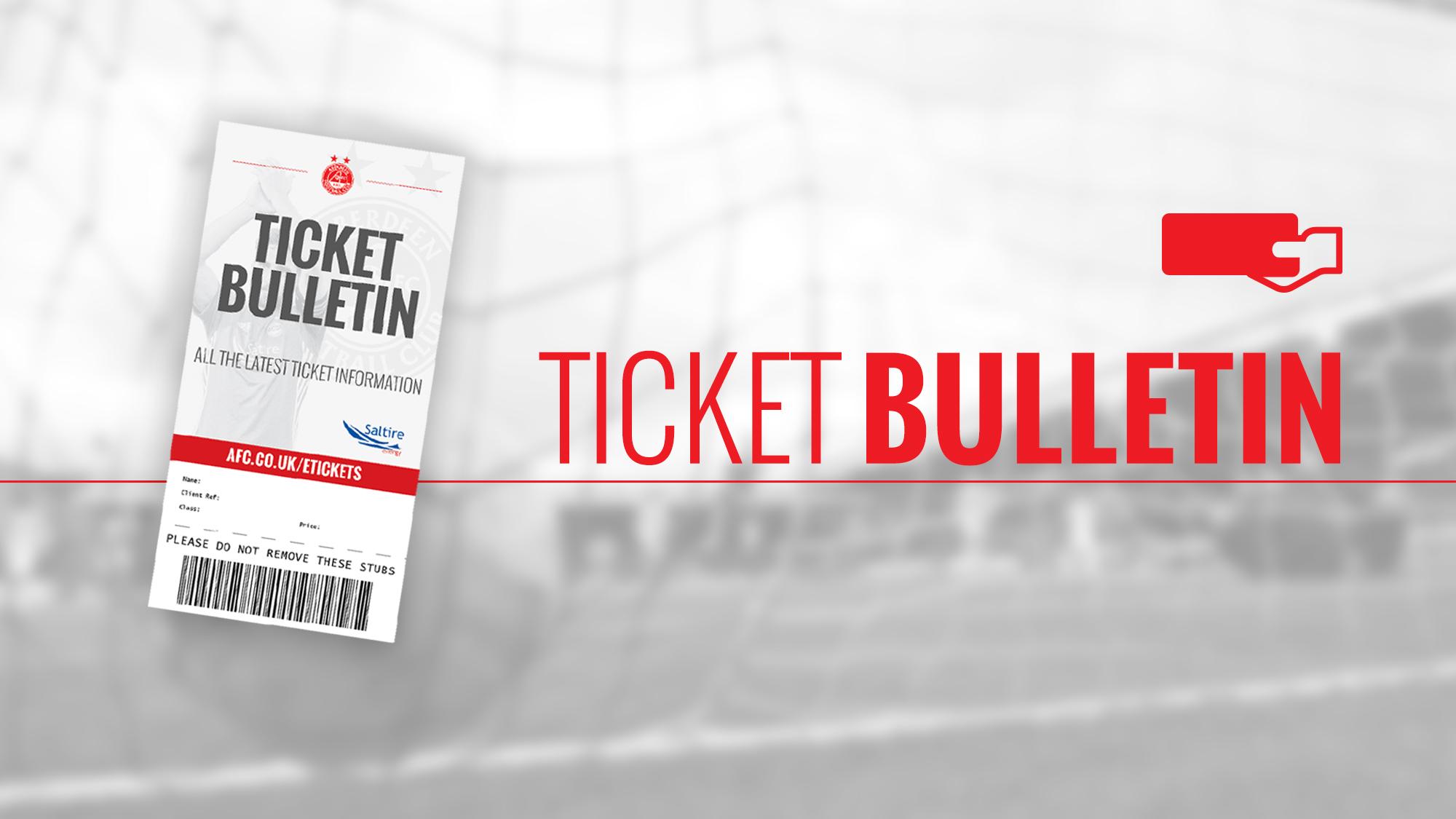 TICKET BULLETIN | MONDAY 12TH AUGUST