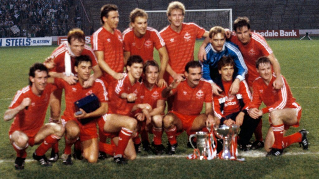 Alex Ferguson's only League Cup triumph comes in a 3-0 win against Hibernian at Hampden.