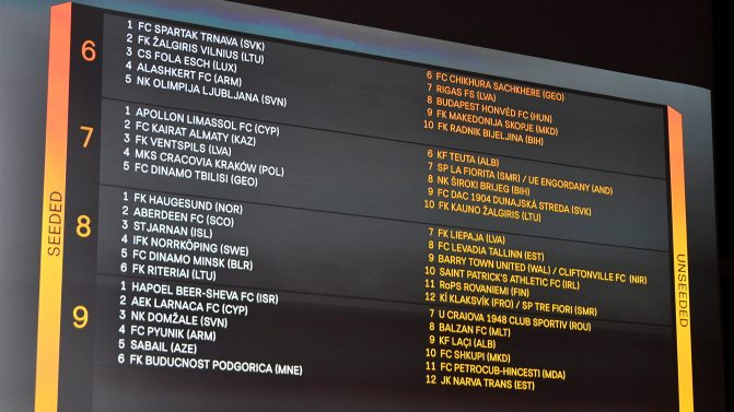 UEFA Europa League Second Qualifying Round Draw |