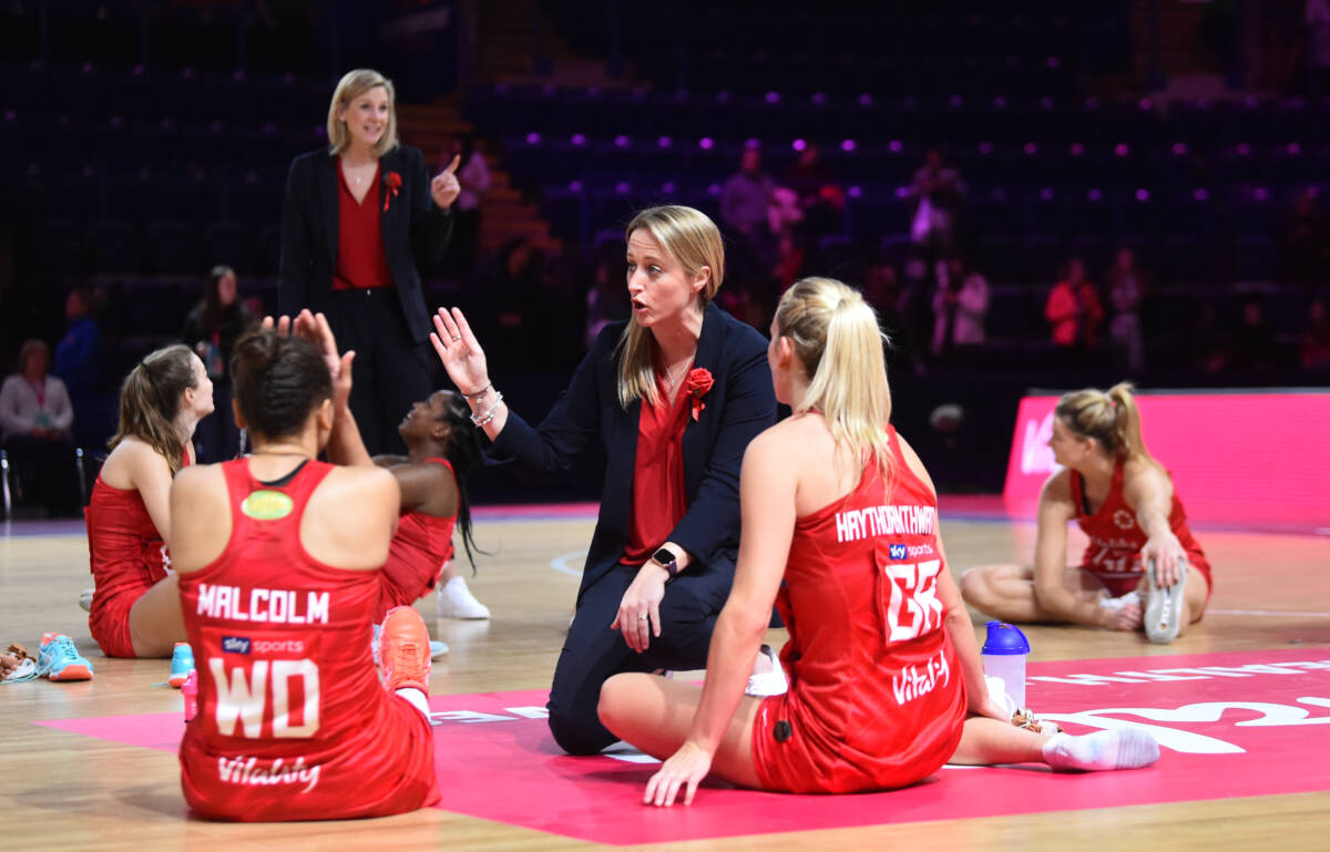 Jess Thirlby coach of Vitality Roses speaks to Laura Malcolm and Natalie Panagarry after the Vitality Netball Nations Cup 2020 match between Vitality Roses and New Zealand Silver Ferns