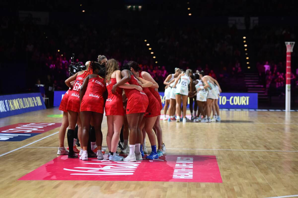 Vitality Roses huddle before their second Vitality Netball Nations Cup game