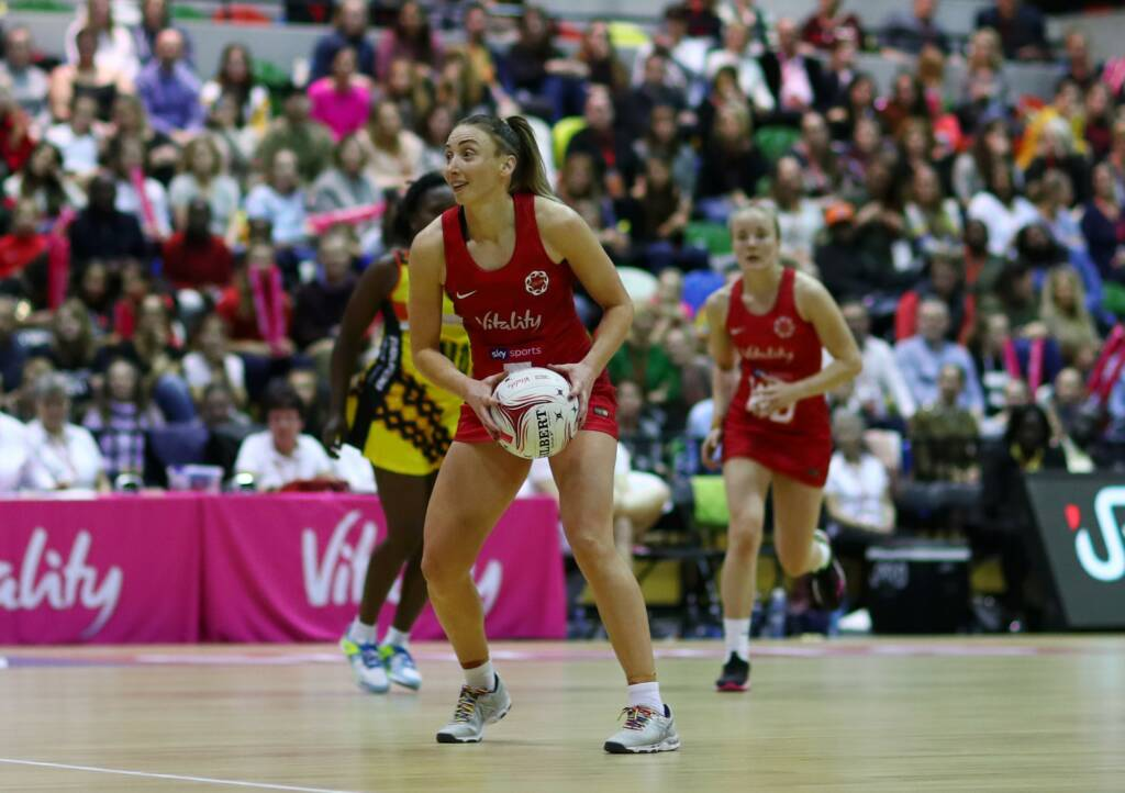 Jade Clarke and Gabby Marshall were on the same court against Uganda in 2018.