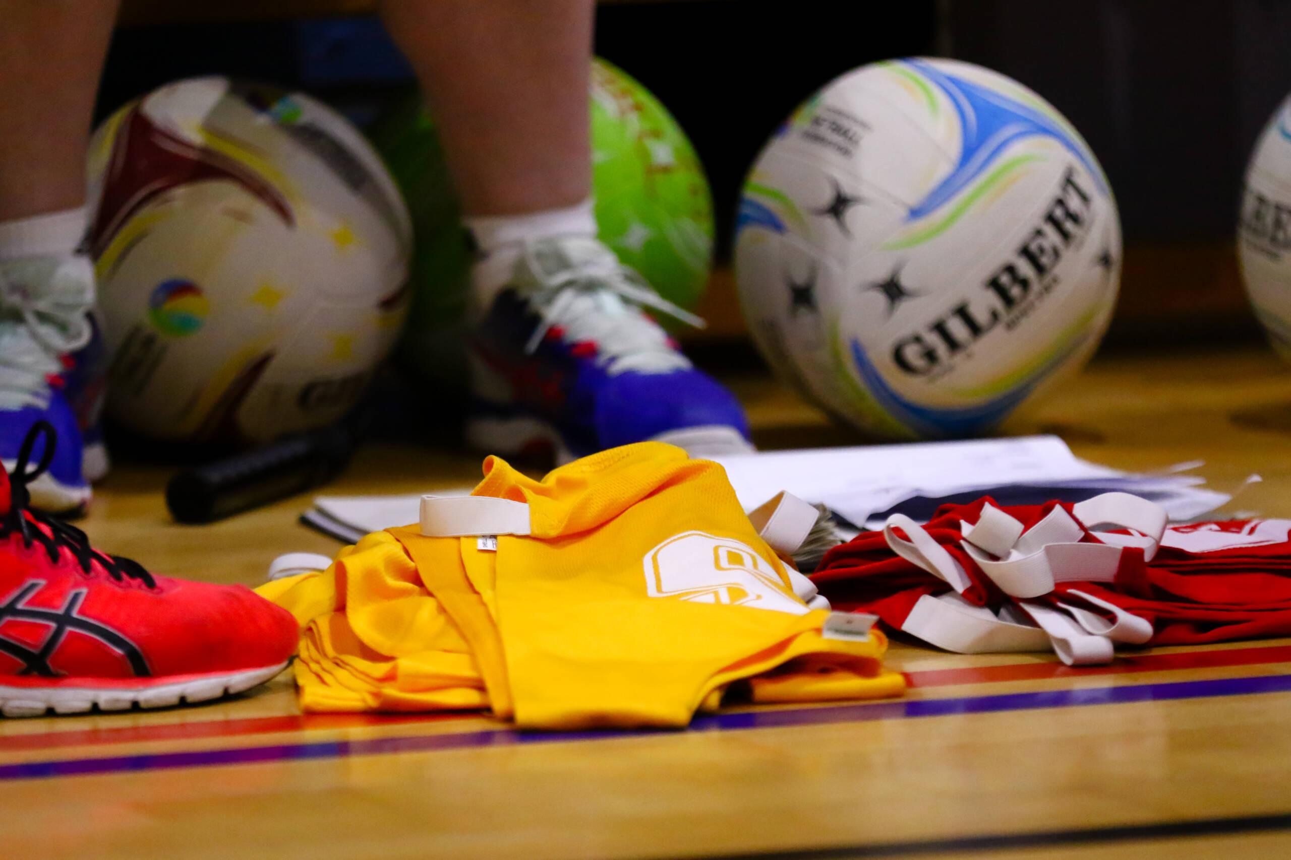 Netball equipment on the floor
