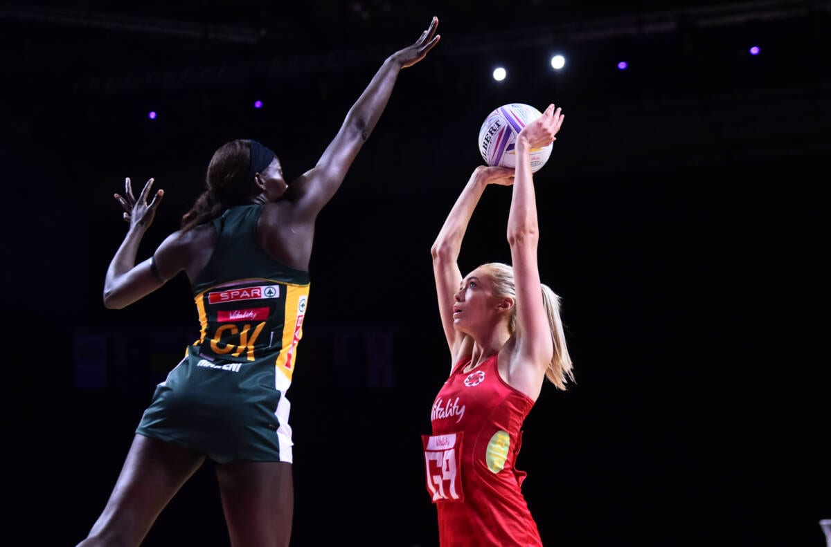 Helen Housby of the Vitality Roses facing South Africa at the Vitality Netball World Cup.