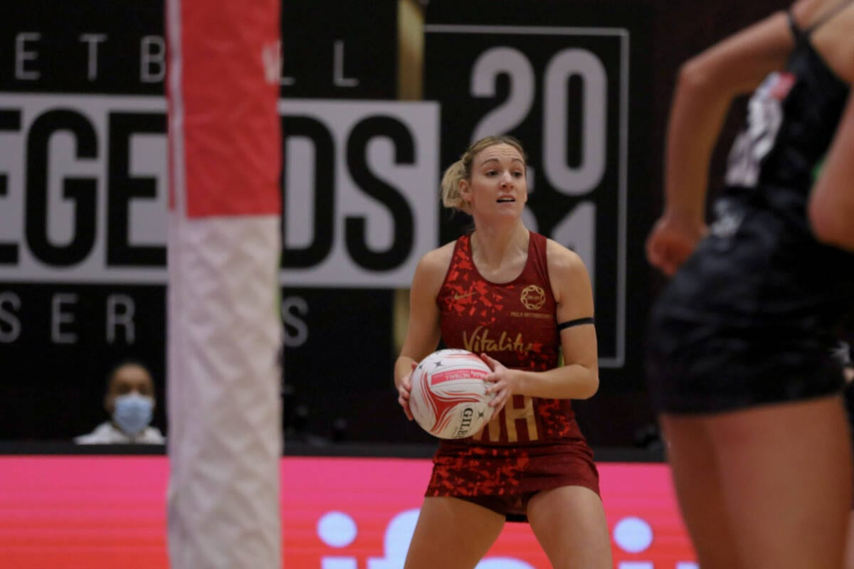 Nat Haythornthwaite won Player of the Match in game two of the Vitality Netball Legends Series.