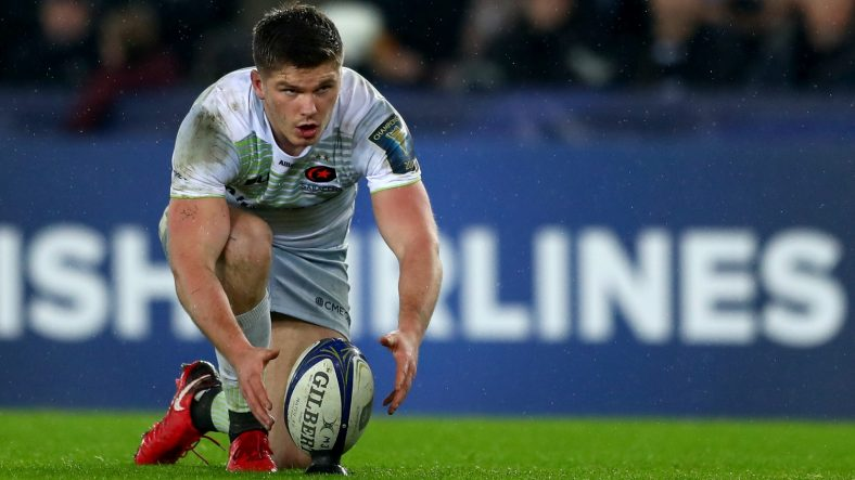 Saracens fly-half Owen Farrell returns from injury to start for the two-time European Rugby Champions Cup winners on Sunday against Pool 3 winners Leinster Rugby at the Aviva Stadium