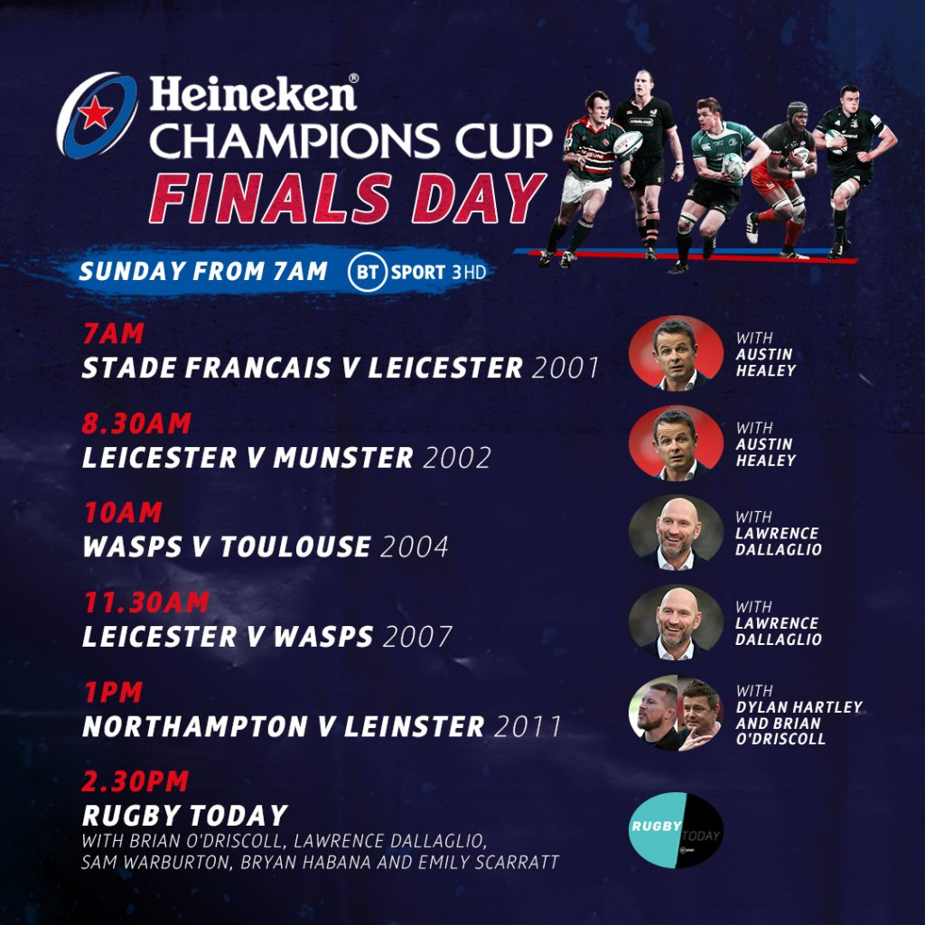 Enjoy 11 hours of Heineken Champions Cup action on BT Sport this Sunday!