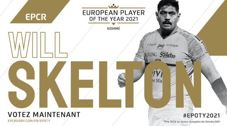 Skelton (La Rochelle) s'affirme dans la course pour le Prix EPCR du Joueur Européen de l'Année
