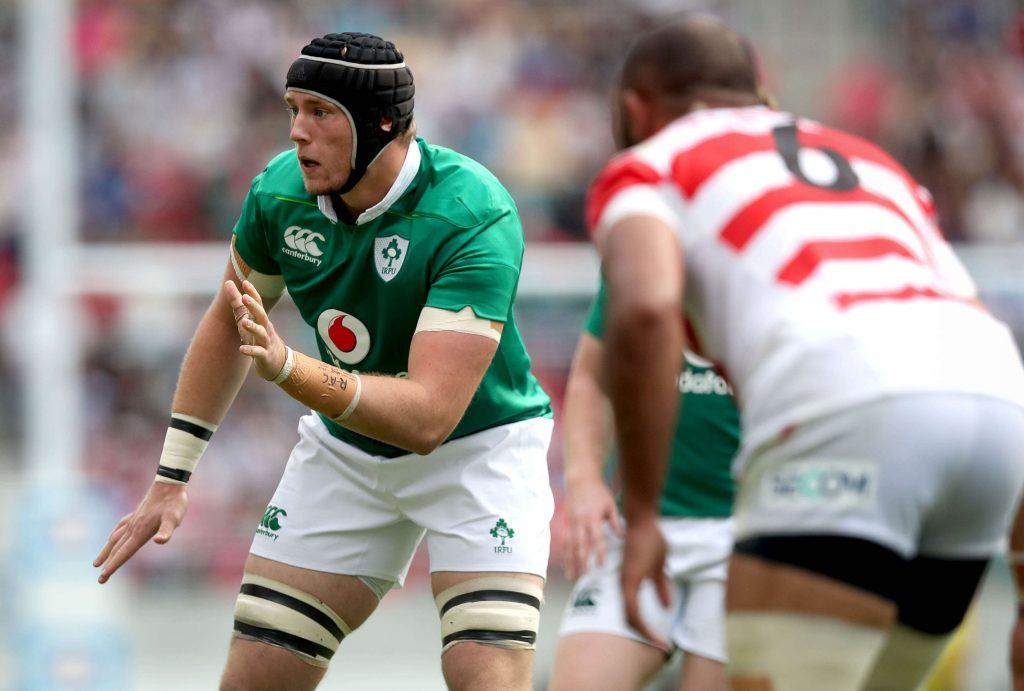 Irish rugby player waiting for pass