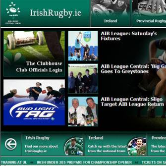 New Look Home Page for IrishRugby.ie