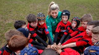 Ailsa Hughes attends a mini rugby event