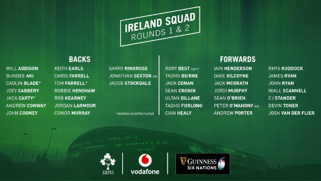 Ireland Squad Named For Opening Rounds Of Guinness Six Nations