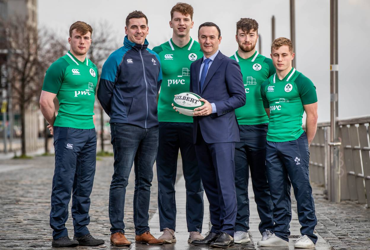 Ireland U20s at the squad announcement in PwC
