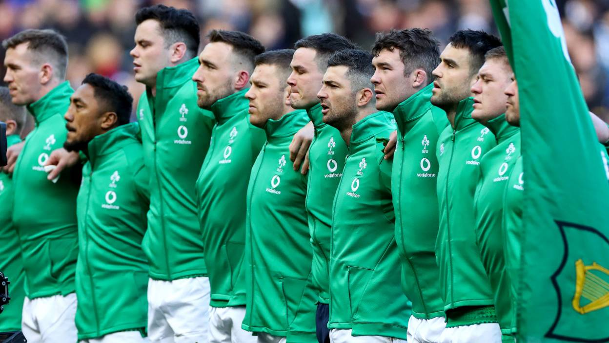 Ireland line up for the anthems in Murrayfield