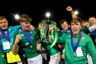 Vice-captain Charlie Ryan and injured captain David Hawkshaw receive the Under-20 Six Nations trophy at the presentation in Colwyn Bay ©INPHO/Ryan Byrne