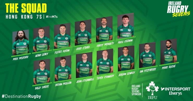 The Ireland Men's 7s Squad for Hong Kong