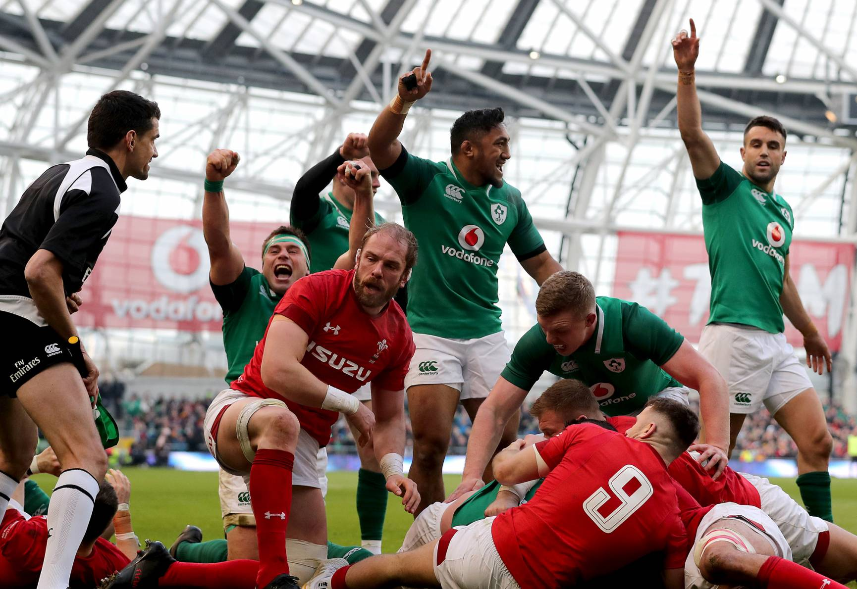 Ireland celebrate a try against Wales