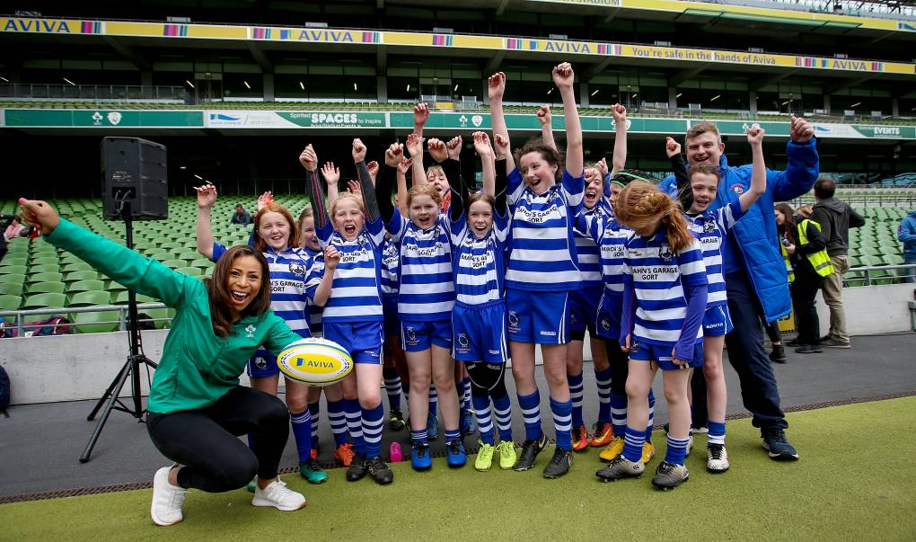 Aviva National Mini Rugby Festival 2019, Aviva Stadium, Dublin 19/5/2018 Sene Naoupu with Gort RFC 400 children from 20 clubs around Ireland got the dream opportunity to play on the same pitch as their Irish rugby heroes. To find out more, follow Aviva Ireland social media channels and use #SafeToDream Mandatory Credit ©INPHO/Tommy Dickson