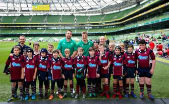 Aviva National Mini Rugby Festival 2019, Aviva Stadium, Dublin 19/5/2018 Ireland's Jack Conan and Josh van der Flier with Enniskillen RFC 400 children from 20 clubs around Ireland got the dream opportunity to play on the same pitch as their Irish rugby heroes. To find out more, follow Aviva Ireland social media channels and use #SafeToDream Mandatory Credit ©INPHO/Tommy Dickson