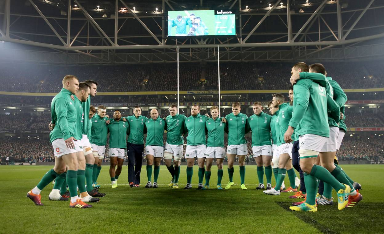 The Ireland team huddle at the Aviva Stadium where they will play Italy and Wales in the GUINNESS Summer Series ©INPHO/Dan Sheridan