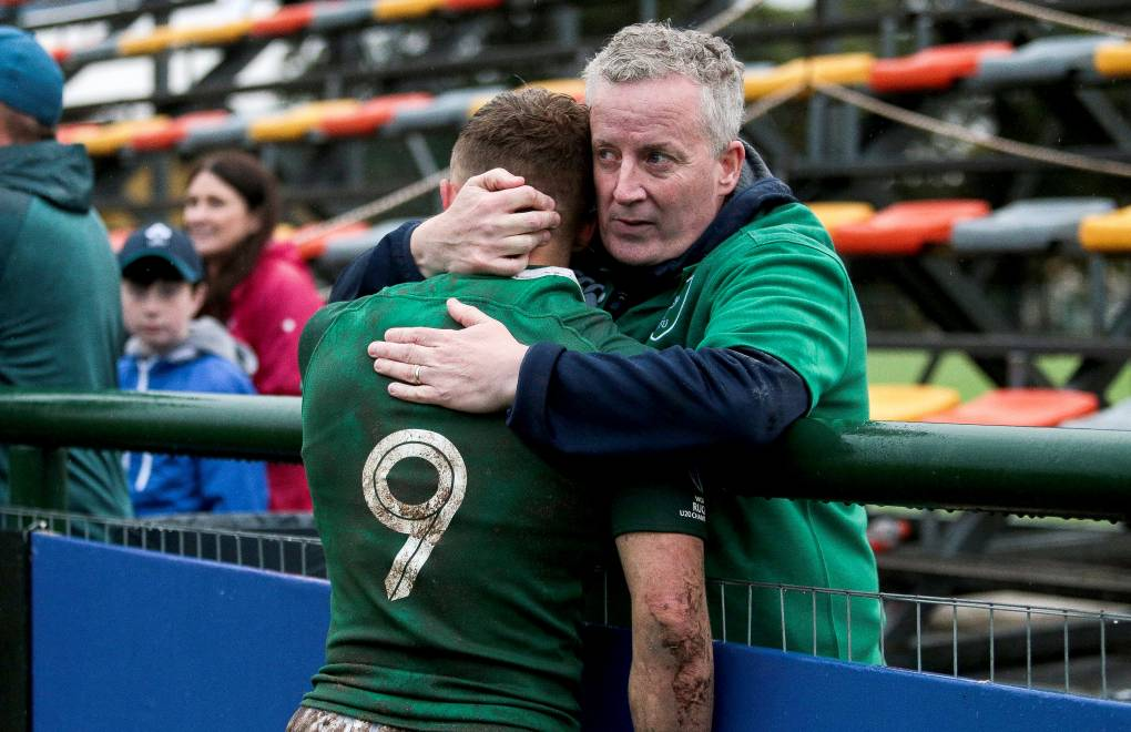 2019 World Rugby U20 Championship 5th Place Semi-Final, Club Old Resian, Rosario, Argentina 17/6/2019 Ireland's Craig Casey is consoled by his father after the game Mandatory Credit ©INPHO/Pablo Gasparini
