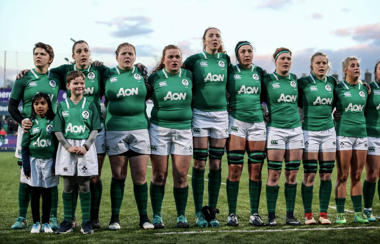 Women's Six Nations Championship Round 1, Energia Park, Donnybrook, Dublin 1/2/2019 Ireland Women vs England Women The Ireland team during the National Anthems Mandatory Credit ©INPHO/Dan Sheridan