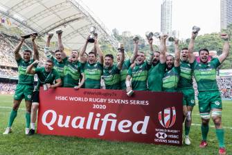 Captained by Billy Dardis, the Ireland Men's Sevens squad celebrate after winning the World Sevens Series qualifying tournament in Hong Kong back in April ©INPHO/Yu Chun Christopher Wong