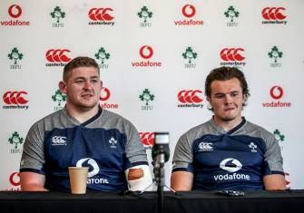 Ireland Rugby Press Conference, The Campus, Faro, Portugal 20/8/2019 Tadhg Furlong and Jacob Stockdale Mandatory Credit ©INPHO/Dan Sheridan