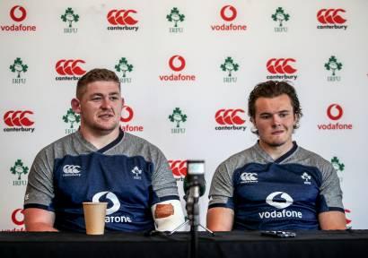 Ireland Rugby Press Conference, The Campus, Faro, Portugal 20/8/2019 Tadhg Furlong and Jacob Stockdale Mandatory Credit ©INPHO/Dan Sheridan