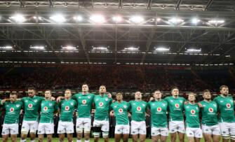 The Ireland team during the national anthems Mandatory Credit ©INPHO/Dan Sheridan