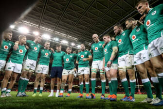 Wales vs Ireland The Ireland team huddle after the game Mandatory Credit ©INPHO/Dan Sheridan