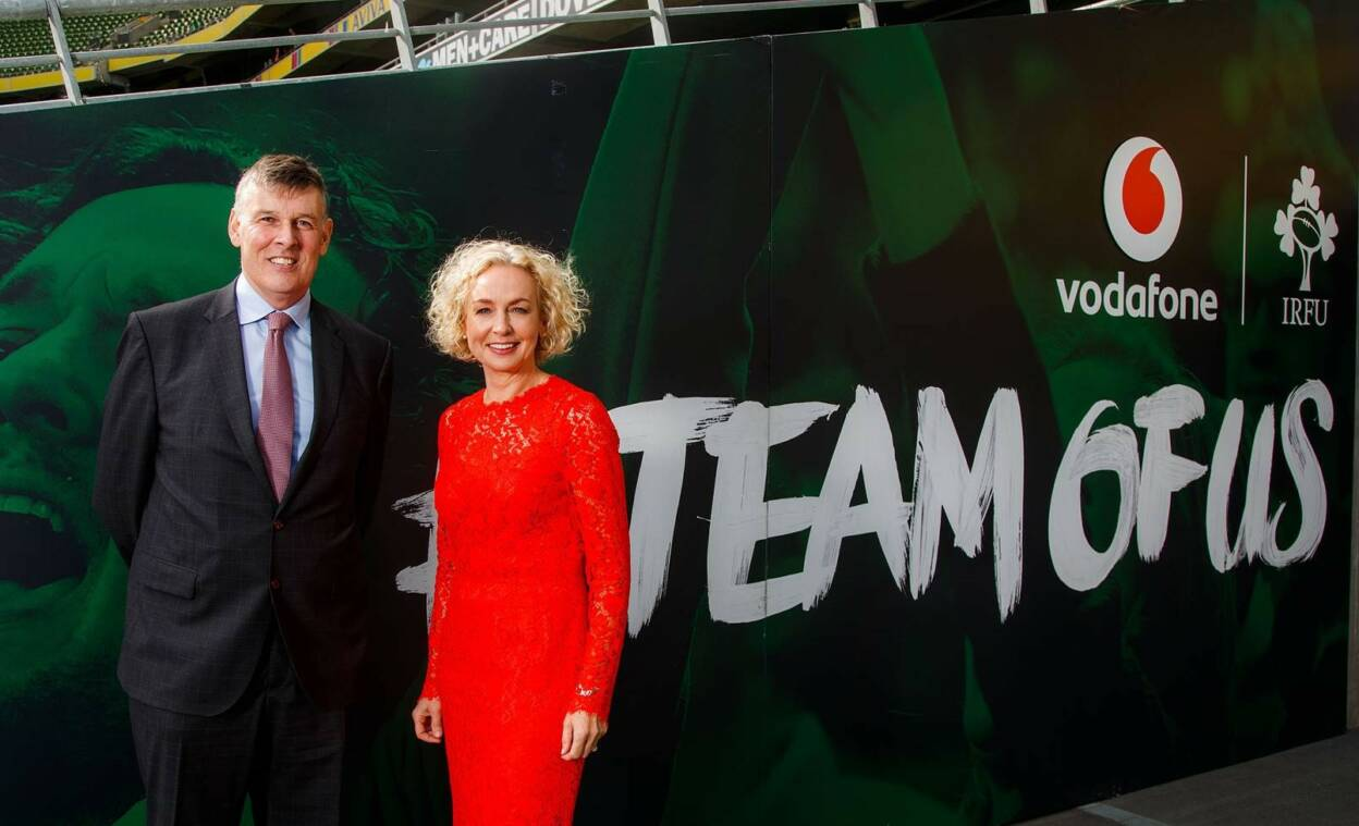Philip Browne and Anne O'Leary at the announcement of the extension of Vodafone's sponsorship deal