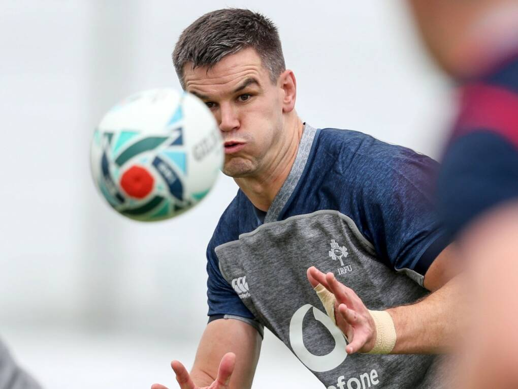Jonathan Sexton at Ireland's first training session in Japan