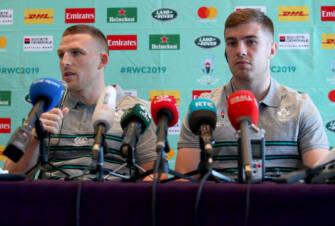 Andrew Conway and Luke McGrath at the Sunday morning press conference Mandatory Credit ©INPHO/Dan Sheridan