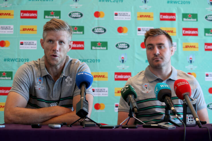 Ireland Rugby Press Conference, New Otani Hotel, Makuhari, 15/9/2019 Forwards coach Simon Easterby and Niall Scannell Mandatory Credit ©INPHO/Dan Sheridan