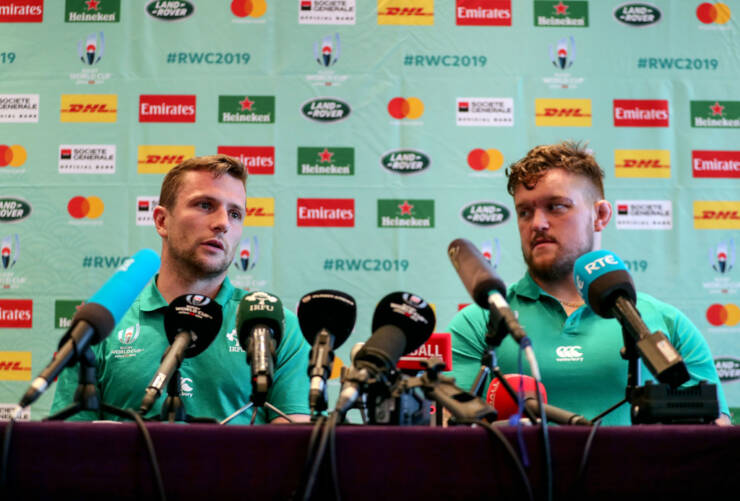 Ireland Rugby Press Conference, New Otani Hotel, Makuhari, 16/9/2019 Jack Carty and Andrew Porter Mandatory Credit ©INPHO/Dan Sheridan