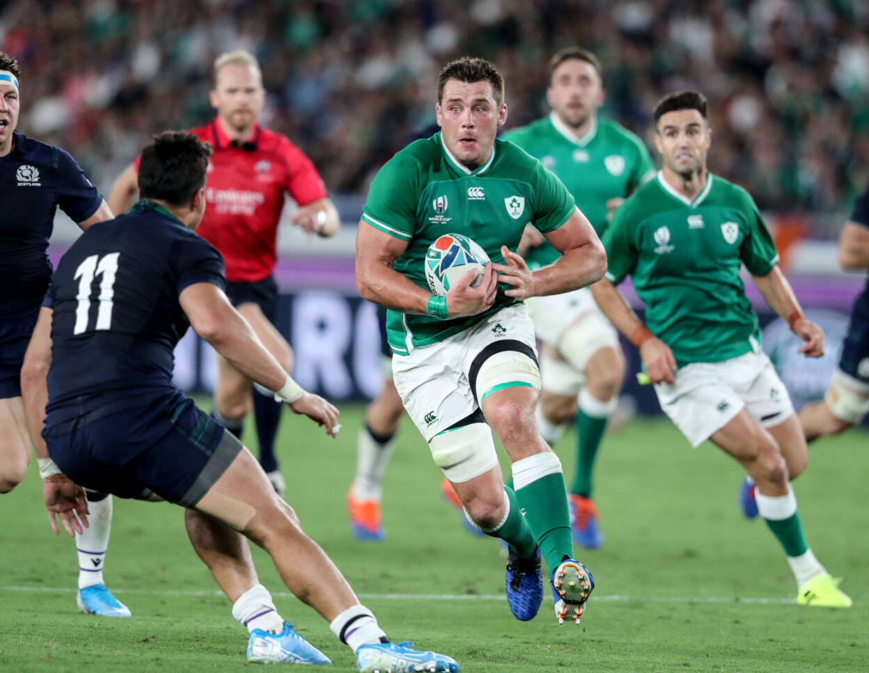 Ireland's man-of-the-match CJ Stander leads the charge during the Pool A opener against Scotland in Yokohama ©INPHO/Dan Sheridan