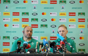 Ireland Rugby Press Conference, Yumeria Sports Grounds, Iwata, Shizuoka, Japan 26/9/2019 Rory Best and Head coach Joe Schmidt Mandatory Credit ©INPHO/Dan Sheridan
