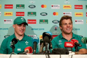 Ireland Rugby Press Conference, Grand Hyatt Fukuoka, Japan 7/10/2019 Garry Ringrose and Jordi Murphy Mandatory Credit ©INPHO/Dan Sheridan
