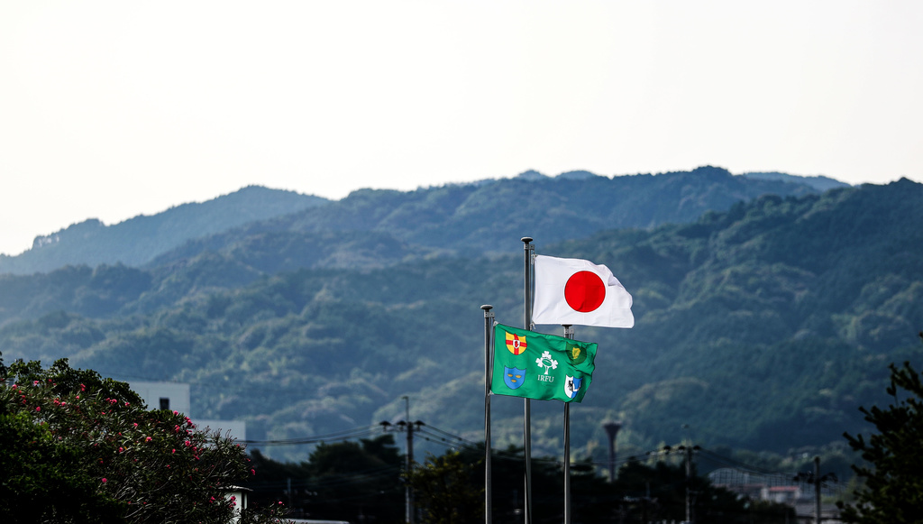 Ireland Rugby Squad Training, Shirouzuoike Park, Fukuoka, Japan 7/10/2019 A view of an Ireland and Japan flag at training Mandatory Credit ©INPHO/Dan Sheridan