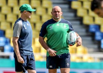 Ireland Rugby Captain's Run, Fukuoka Hakatanomori Stadium, Fukuoka, Japan 11/10/2019 Head coach Joe Schmidt with Rory Best Mandatory Credit ©INPHO/Dan Sheridan
