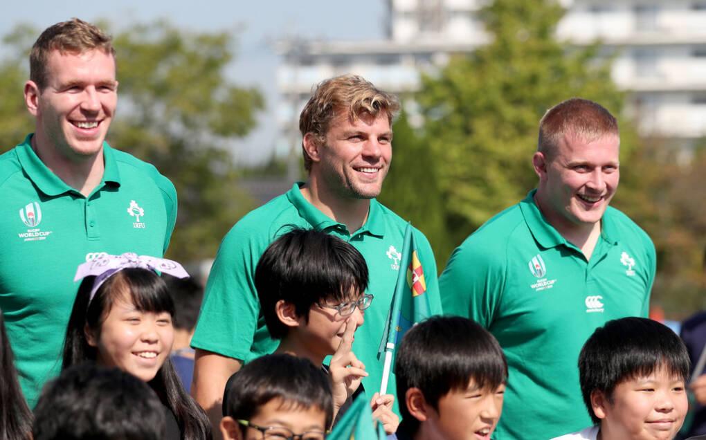 Ireland Rugby Visit Kasuga Elementary School, Fukuoka, Japan 11/10/2019 Chris Farrell, Jordi Murphy and John Ryan Mandatory Credit ©INPHO/Dan Sheridan