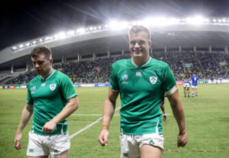 2019 Rugby World Cup Pool A, Fukuoka Hakatanomori Stadium, Fukuoka Prefecture, Fukuoka City 12/10/2019 Ireland vs Samoa Ireland's Luke McGrath and Josh Van der Flier celebrate after the game Mandatory Credit ©INPHO/Dan Sheridan