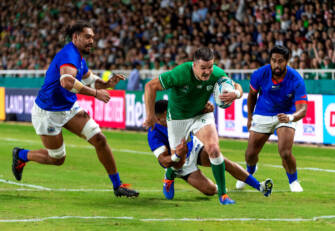 2019 Rugby World Cup Pool A, Fukuoka Hakatanomori Stadium, Fukuoka Prefecture, Fukuoka City 12/10/2019 Ireland vs Samoa Ireland's Jonathan Sexton scores their fourth try Mandatory Credit ©INPHO/Jayne Russell