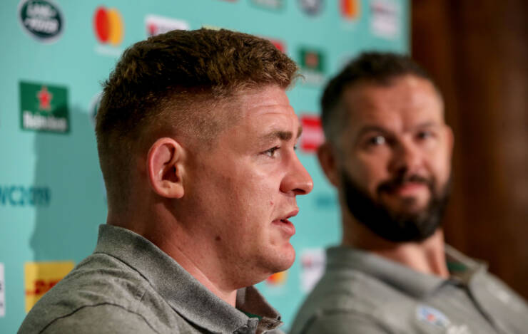Ireland Rugby Press Conference, Fukuoka, Japan 13/10/2019 Tadhg Furlong and Defence coach Andy Farrell Mandatory Credit ©INPHO/Dan Sheridan
