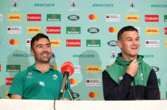 Ireland Rugby Press Conference, Fukuoka, Japan 14/10/2019 High Performance Analyst Vinny Hammond and Johnny Sexton Mandatory Credit ©INPHO/Dan Sheridan