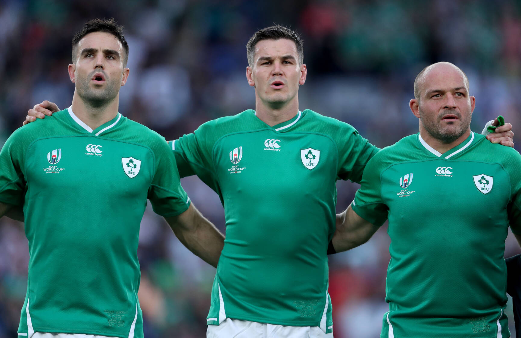 2019 Rugby World Cup Pool A, International Stadium, Yokohama, Japan 22/9/2019 Ireland vs Scotland Ireland's Conor Murray, Jonathan Sexton and Rory Best during the anthems Mandatory Credit ©INPHO/Dan Sheridan