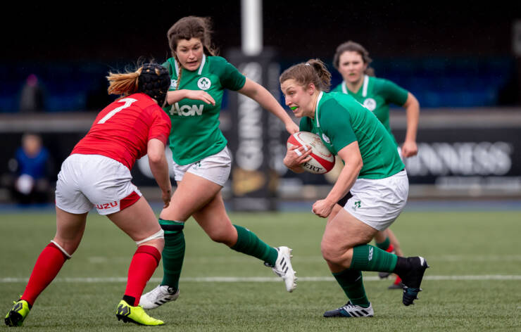 Laura Feely is pictured on the attack during the Ireland Women's clash with Wales in Cardiff last March ©INPHO/Morgan Treacy